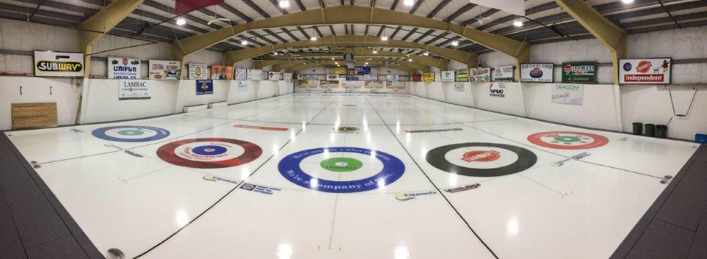photo of ice logos on curling rink ice